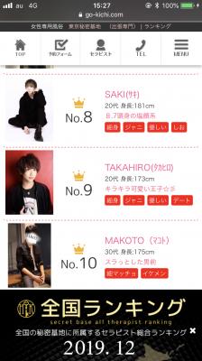 TAKAHIRO(タカヒロ) 12月度  ランキング!!