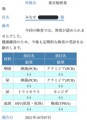 MINASE(ミナセ) 検査結果